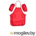 Одежда для уроков труда Фартук Учитель с нарукавниками для девочек Red ИТК-28