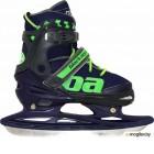 Коньки раздвижные Black Aqua AS-408 (р-р 27-30, темно-синий/зеленый)