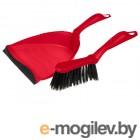 Щетка-сметка+ совок с резинкой (набор для уборки), Solid (Солид), красный, PERFECTO LINEA