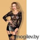 Платье с пажами, стринги и чулки Candy Girl Livia черные, OS