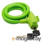 Тросовый замок взломостойкий для велосипедов и колясок с ключом 100 см зеленый
