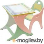 Стол+стул Интехпроект Буквы-цифры (Салатовый и персиковый) 14-335