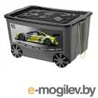 Elan Gallery KidsBox Спорткар 61x41x33cm 55L с крышкой на колёсах Grey-Black 640334