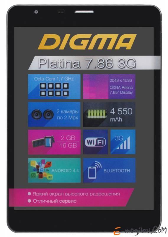 """Digma Platina 7.86 3G NS7886MG MTK8392 (1.8) 8C A7/RAM2Gb/ROM16Gb/7.85"""" IPS Retina 1536*2048/3G/WiFi/BT/2Mp/2Mp/GPS/And4.4/black/Touch/microSDHC 32Gb/GPRS/EDGE/UMTS/HSDPA/HSUPA/DLNA/mHDMI/mHDMI/HDMI/minUSB/minUSB/4800mAh/8hr/100hrs Qcta core Retin"""