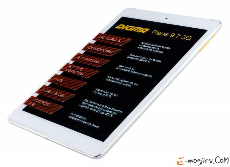 Digma Plane 9.7 3G MTK8382 (1.3) 4C/RAM1Gb/ROM8Gb 9.7 IPS 1024x768/3G/WiFi/BT/2Mpix/0.3Mpix/GPS/Android 4.2/White/Touch/microSDHC 32Gb/minUSB/6000mAh