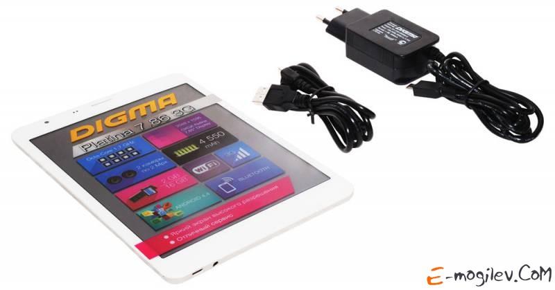"""Digma Platina 7.86 3G MTK8392 (1.7) 8C/RAM2Gb/ROM16Gb 7.85"""" IPS 2048x1536/3G/WiFi/BT/2Mpix/2Mpix/Android 4.4/White/Silver/Touch/microSDHC 32Gb/minUSB/4550mAh"""