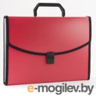 Портфель Бюрократ BPP6Lred 6 отделений с окантовкой А4 пластик 0.7мм красный