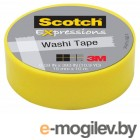 3M C314-YEL Scotch Washi, 15мм x 10м, желтая (7100019519)
