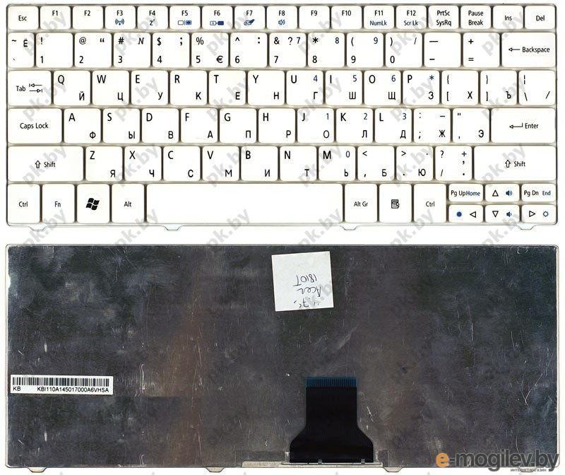 Клавиатура для ноутбука Acer Aspire One 1410T, 1425, 721, 751, Ferrari one белая