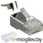 Hyperline PLUG-8P8C-UV-C6-TW-SH Разъем RJ-45(8P8C) ,  экранированный, со вставкой, категория 6 (50 µ/ 50 микродюймов), универсал. (для однож. и многожил/ кабеля), для толстых жил 1.35-1.5 мм