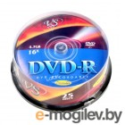 Диск DVD-R VS 4.7 Gb, 16x, Cake Box (25), Printable (25/250).