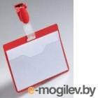 Бейдж Durable горизонтальный 25шт/уп 90*60мм с карманом с клипом-зажимом красный