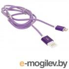 Кабель USB 2.0 Cablexpert, AM/Lightning 8P, 1м, армированная оплетка, разъемы фиолетовый металлик