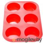 форму для выпечки, силиконовую, прямоугольную на 6 кексов, 26 х 17.5 х 3 см, красная, PERFECTO LINEA (20-000415)