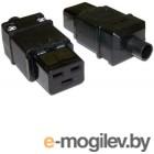 Вилка Lanmaster IEC 60320 C19 16A 250V разборная черная