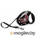 Поводок-рулетка Flexi Glam Butterfly FLX200S (S, чёрный)