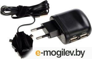 """Сетевое зарядное устройство """"GINZZU"""" [GA-3212UB/S3] <Black>2хUSB; miniUSB/micro USB/APPLE"""