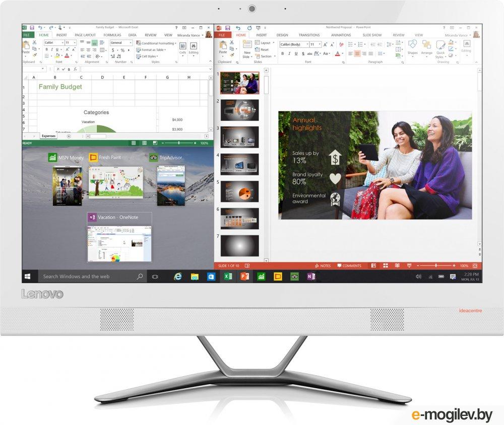 "Lenovo IdeaCentre 300-23ISU 23"" Full HD P 4405U/4Gb/1Tb 7.2k/DVDRW/Windows 10 Professional/GbitEth/WiFi/BT/клавиатура/мышь/Cam/белый 1920x1080"