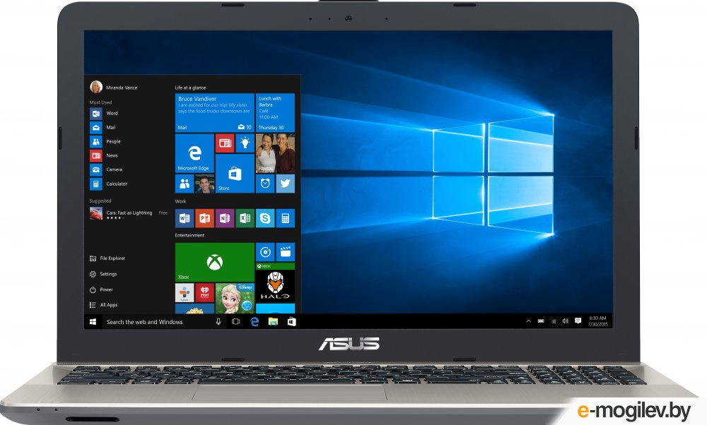 "Asus X541SA-XO055T Celeron N3060/4Gb/500Gb/Intel HD Graphics 405/15.6""/HD (1366x768)/Windows 10/black/WiFi/BT/Cam"