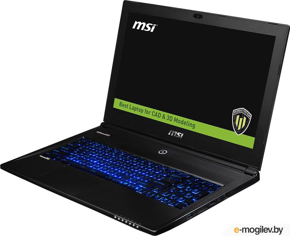 "Ноутбук MSI WS60 6QJ-641RU 15.6""(3840x2160)/Intel Core i7 6700HQ(2.6Ghz)/16384Mb/1000+2x128SSDGb/noDVD/Ext:nVidia Quadro M2000M(4096Mb)/Cam/BT/WiFi/47WHr/war 3y/1.9kg/black/W10Pro"