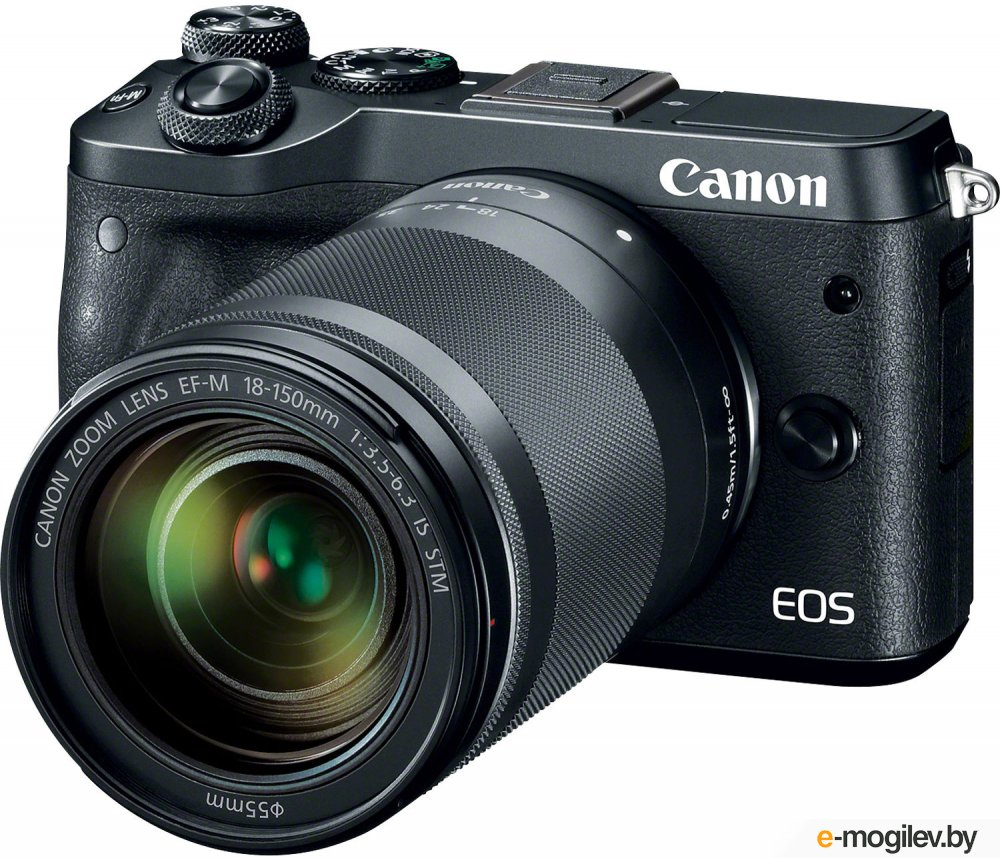 "Фотоаппарат Canon EOS M6 черный 24Mpix 3"" 1080p WiFi 18-150 IS STM f/ 3.5-6.3 LP-E17"