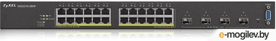 Zyxel XGS2210-28HP, 24 port Gigabit L2 managed PoE+ switch, 375 Watt, 4x 10G