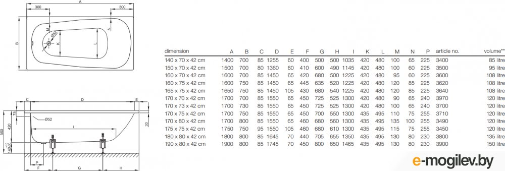 Bette Form 170x70 / 3970-000