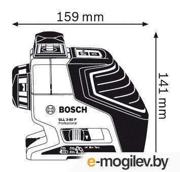 """Нивелир лазерный линейный BOSCH GLL 3-80 P с держателем и лазерным приемником L-BOXX (проекция: 3 плоскости 360°, до 80 м, +/- 16 мм, резьба 1/4, 5/8"""""""