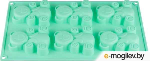 Форма для выпечки, силиконовая, прямоугольная на 6 кексов, 30.5 х 18 х 2 см, бирюзов, PERFECTO LINEA