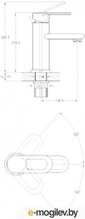 Смеситель для умывальника. D35, шпил. LOB-1128 G.Lauf (Смеситель цинковый) (Glauf)
