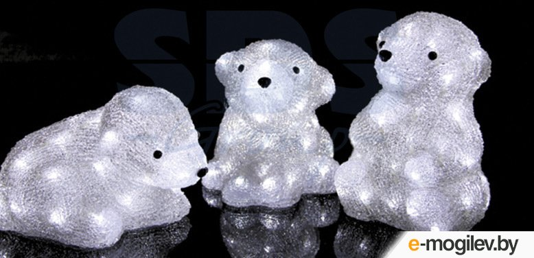 Елочные игрушки и украшения Neon-Night Медвежата 3шт 20cm 60-LED 513-266