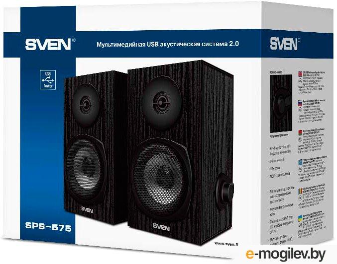 Колонки Sven SPS-575 (2.0), 2x3W, цвет черный