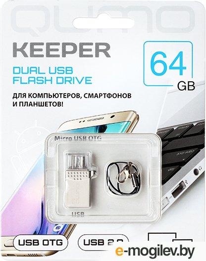 Накопитель QUMO 64GB Keeper c двумя коннекторами для подключения к телефону c поддержкой OTG через MicroUSB и РС через USB. (QM64GUD-Keep)
