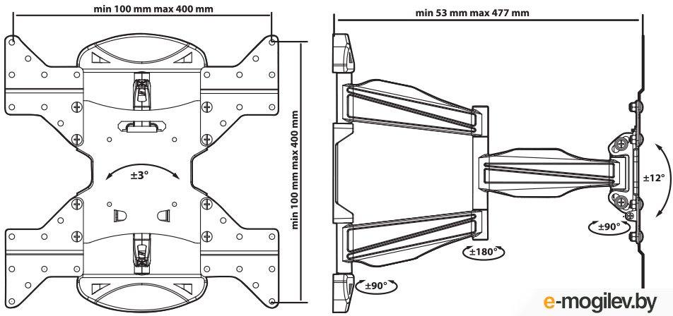 "Кронштейн Tuarex ULTRA-5 black, настенный для TV 22""-55"", max 40 кг, 5 ст св., нак. ±12°, пов. 180°, от ст. 53-477 мм, max VESA 400x400 мм."