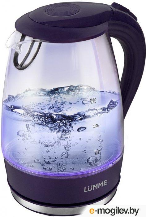 LUMME LU-216 Чайник темный топазтемный топаз 2200W 1.8л Термостойкое стекло, внутренняя подсветка, Автоотключение при закипании/отсутствии воды/фильтр