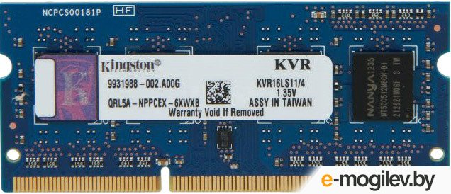 Kingston DDR3-1600 4Gb SO-DIMM KVR16LS11/4