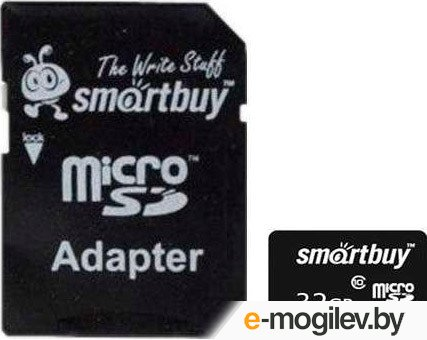 SmartBuy (SB32GBSDCL10-01) microSDHC 32Gb Class10 + microSD--SD  Adapter